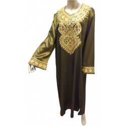 """Khaki green """"Chaima"""" evening dress with gold embroidery"""