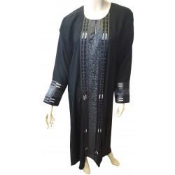"Black abaya ""Houriya"" with embroidery"