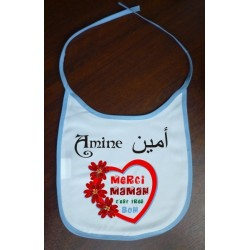 "Bib ""Thank you mom, it's very good!"" personalized with the baby's first name (Blue / Boys)"