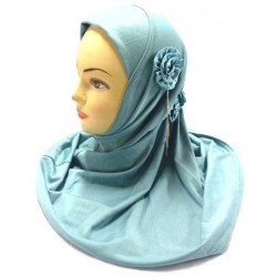 Light gray one-piece hijab with a side rose adorned with a silver chain