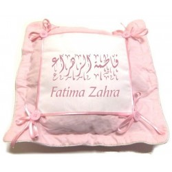 Pink personalized pillow case / cushion cover with buttons and bows (name, message ...)