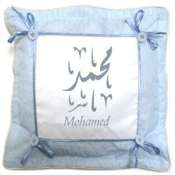 Blue personalized pillow case / cushion cover with buttons and bows (name, message ...)