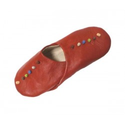 Moroccan handcrafted slippers for women in red leather with colored decorative knots