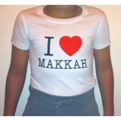 "Children's T-Shirt ""I LOVE MAKKAH"" (White or Black - 100% cotton)"
