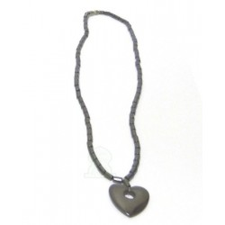 Fancy necklace in silver metal with small hole heart pendant