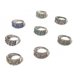 Women's fancy ring in silver metal set with colored stones