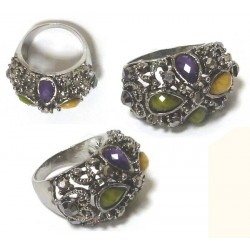 Fashion ring for women made of silver metal and set with multiform colored stones