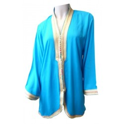 Short turquoise blue Moroccan tunic with multicolored knots