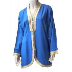 Short dark blue Moroccan tunic with multicolored knots