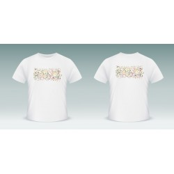 Customizable T-Shirt with a multicolored mosaic of letters of the Arabic alphabet