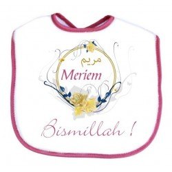 "Personalized bib for baby: ""Bismillah"" - Pink with female name"