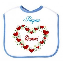 Personalized Heart bib for baby - Blue with male name