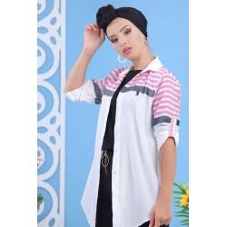White shirt with fuchsia stripes