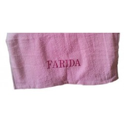 Woman's towel (pink) personalized with Arabic / Muslim name