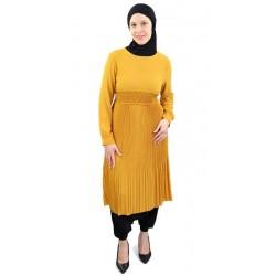 Tunique evasée plissée jaune moutarde
