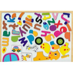 Educational Wooden Puzzle Board (French Alphabet - Car - Deer)
