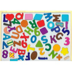 Erasable Board and Educational Wooden Puzzle: Numbers, Letters and Shapes