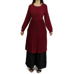 Flared pleated tunic - Burgundy color