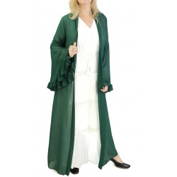 Kimono with bell sleeves and green belt