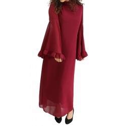 Officer collar dress with flared sleeves and matching ribbon belt - Garnet color