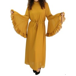 Officer collar dress with flared sleeves and matching ribbon belt - Mustard Yellow Color