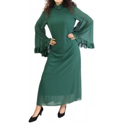 Officer collar dress with flared sleeves and matching ribbon belt - Dark Green Color