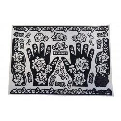 Grande feuille de motifs de tatouages (pour henné)