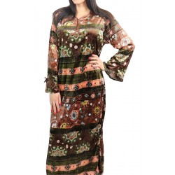 Long-sleeved velvet dress with a mix of colors and patterns