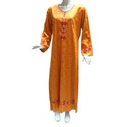 Kawtar orange dress with red embroidery