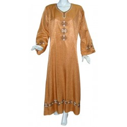 Kawtar dress in brick red color with brown embroidery