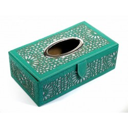 Boîte à mouchoirs décorative en cuire de fabrication artisanale marocaine de couleur vert