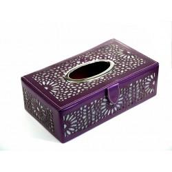 Boîte à mouchoirs décorative en cuire de fabrication artisanale marocaine de couleur mauve