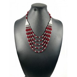 Ethnic handmade necklace with burgundy colored stones