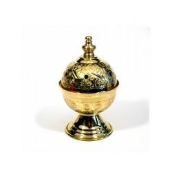 Encensoir / Porte encens artisanal marocain moyen en cuivre doré décoré de jolies...