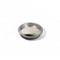 Handcrafted round Moroccan tray in silver metal circled and finely hammered with feet -...