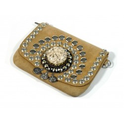 Beige suede leather handbag Ornament with stones cast in a block of resin