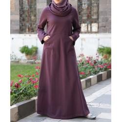 Long dress - Cowl Neck SweaterDress [wD0551]