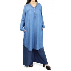 Buttoned denim tunic with pockets