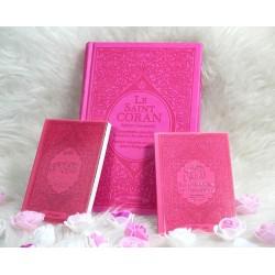 Pack Cadeau rose pour femme musulmane : Le Saint Coran Rainbow, Chapitre Amma et La...