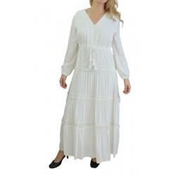Robe bohème chic couleur de couleur blanche