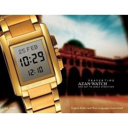 Al-Sahar metal watch with automatic indication of the qibla and prayer times (Deluxe gold)