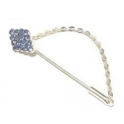 Silver brooch pin for Hijab diamond shaped diamonds in purple color