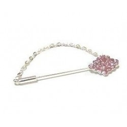 Silver brooch pin for Hijab diamonds in the shape of diamond in pink color