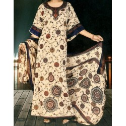 Loose oriental dress with flower patterns and matching veil