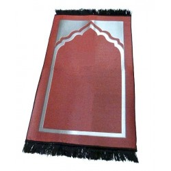 Prayer rug padded one place burgundy uni with silver part