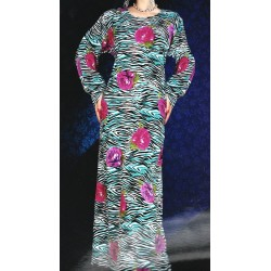 Oriental summer dress with round neck, with floral and zebra patterns