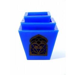 Grand Ensemble de trois photophores de bougie décoratif marocain de couleur bleu