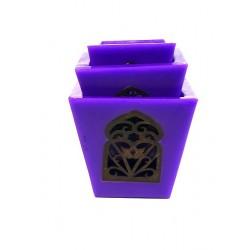 Grand Ensemble de trois photophores de bougie décoratif marocain de couleur violet
