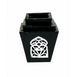Grand Ensemble de trois photophores de bougie décoratif marocain de couleur noir