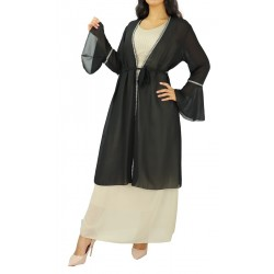 Mid-length kimono with embroidery - Color Black